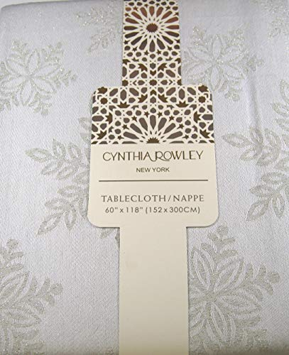 Cynthia Rowley Holiday Snowflake Tablecloth Platinum 60 x 118