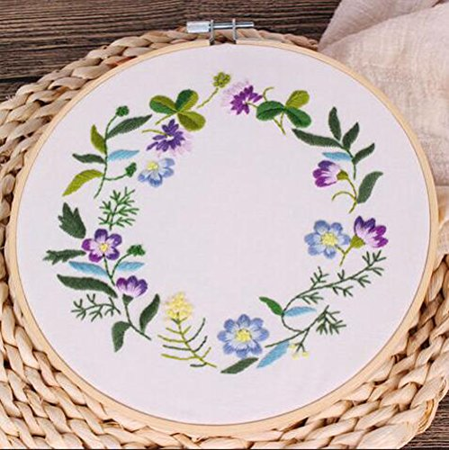 Cross Stitch Stamped Embroidery Kit - Eafior DIY Beginner Counted Starter Cross Stitch Kit for Art Craft Handy Sewing Including Color Pattern Embroidery Cloth,Embroidery Hoop,Color Threads,Tools Kit by Eafior