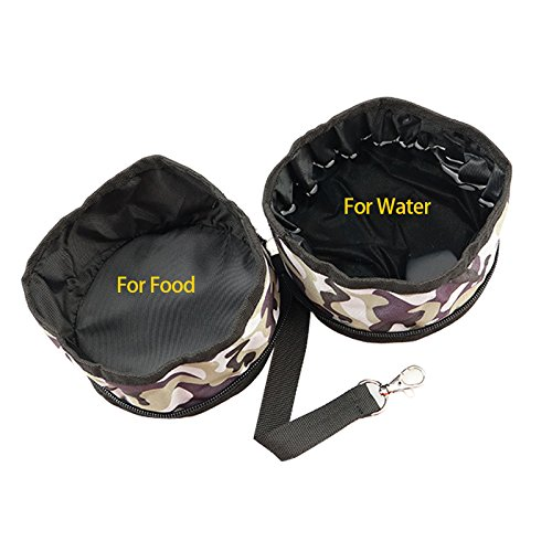 Leson Collapsible Dog Bowl, Foldable Travel Pet Bowl For Food And Water,for Dogs and Cats-2 Pack (Camouflage)