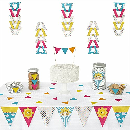 Big Dot of Happiness You are My Sunshine - Triangle Baby Shower or Birthday Party Decoration Kit - 72 Pieces ()