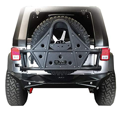 DV8 Jeep Wrangler Tire Carrier Body Mounted Offroad Spare Tire Relocation Kit Perfect for 4x4 Accommodates up to 42 Tire with ANY Lug Pattern Fits 07-17 JK Model Textured Black TCSTTB-01 (Best Rims For Jeep Wrangler)