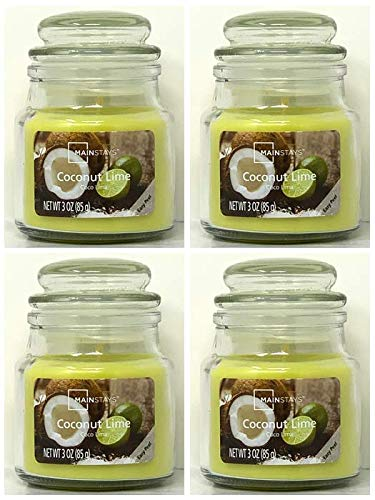 Mainstays 3oz Coconut Lime Scented Candles, 4-Pack