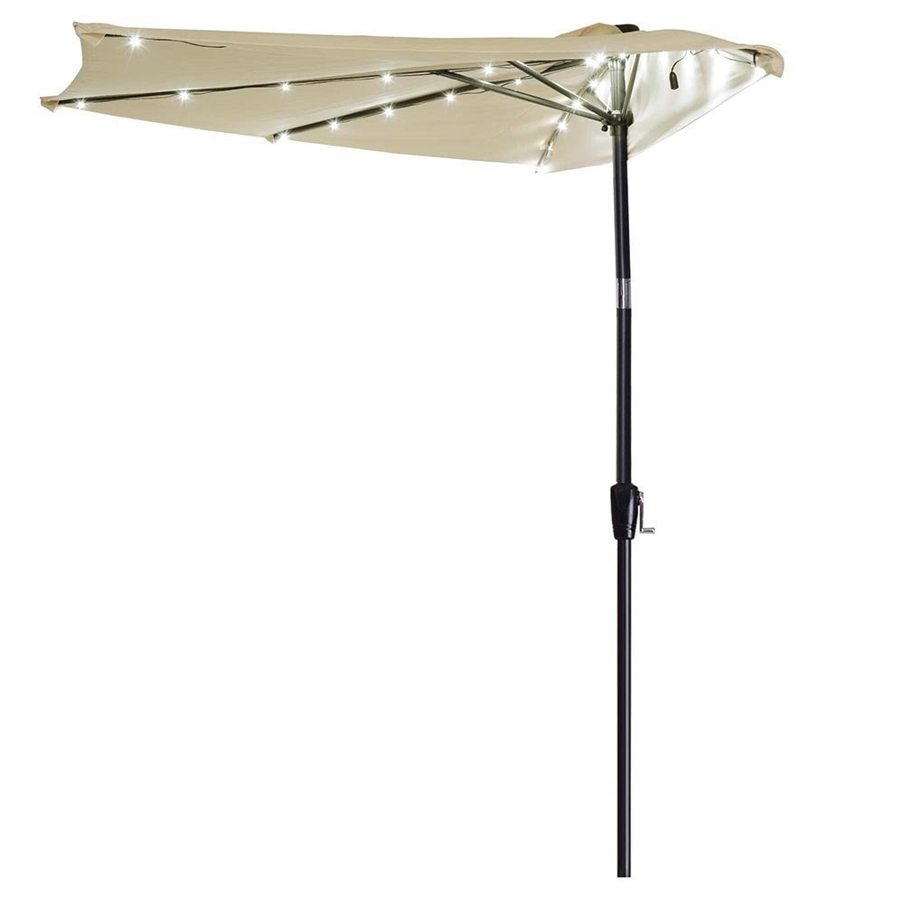 Yescom 10ft LED Solar Power Patio Half Umbrella Outdoor Yard Market Commercial Wall Window Parasol