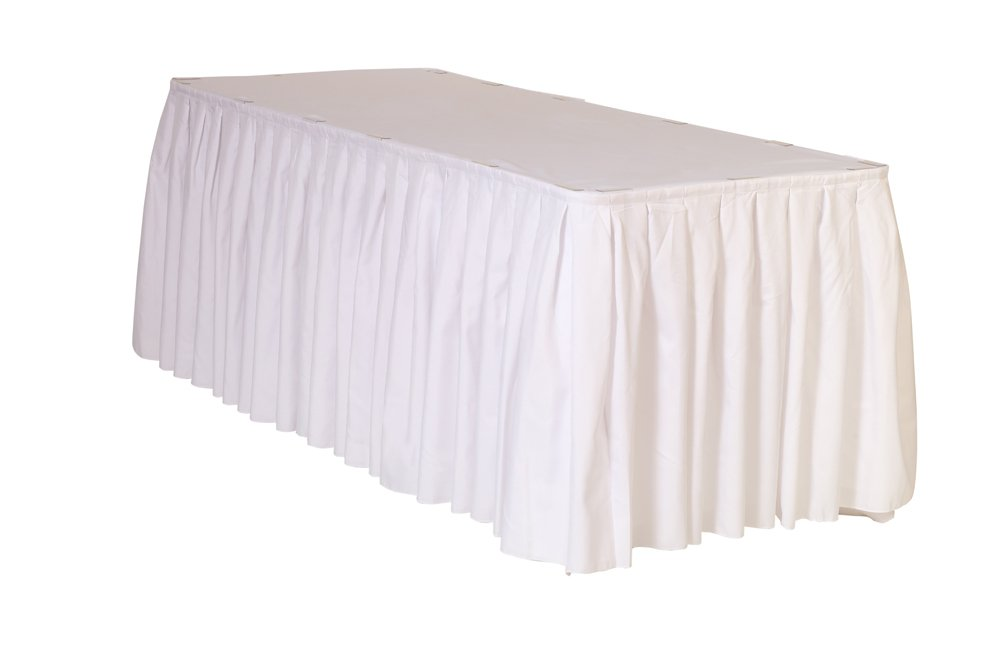 21 ft x 29 inch Polyester Pleated Table Skirts White by Your Chair Covers (Image #1)