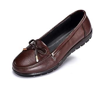 43bc54ebf41a81 MSFS Chaussures pour Femmes Cuir Personnes âgées Grand-mère Glisser sur  Confort Appartement Antidérapant Semelles