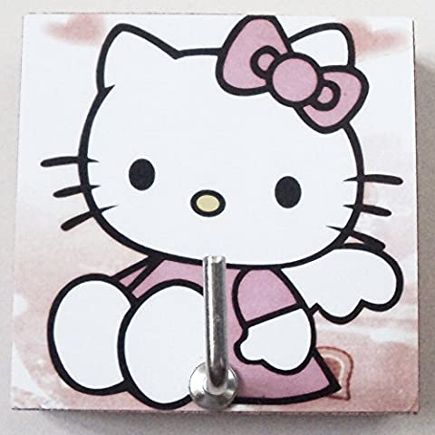 Agility Bathroom Wall Hanger Hat Bag Key Adhesive Wood Hook Vintage The Angel Hello Kitty's Photo (Strong Black Woman Murals)