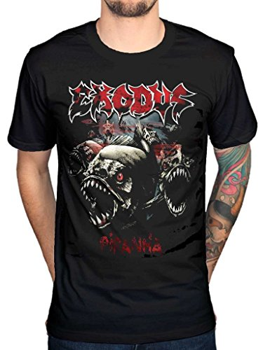 AWDIP Men's Official Exodus Piranha T-Shirt Thrash Metal Music Band