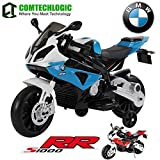 Official Licensed Comtechlogic CM-2159 BMW S1000RR Twin Powered Rechargeable Electric Ride on Kids Motorbike - Blue / Red (RED)
