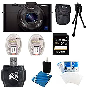 Sony DSC-RX100M II DSC-RX100M2 DSC-RX100MII, RX100M2 RX100MII DSC-RX100M II Cyber-shot Digital Still Camera 20.2MP, Black Bundle with 64GB Class 10 High Speed Card, 2 Spare Batteries, SD Card Reader, Table top Tripod, Padded Case, and Lens Cleaning Kit