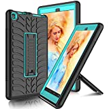 USHAWN Kindle Fire 8 2018 Case, Three Layer Heavy Duty Shockproof Full-Body Protective Hybrid Kickstand Case Cover Compatible with Kindle Fire 8 2018 / Kindle Fire 8 2017 / All-New Fire HD 8 (Blue)