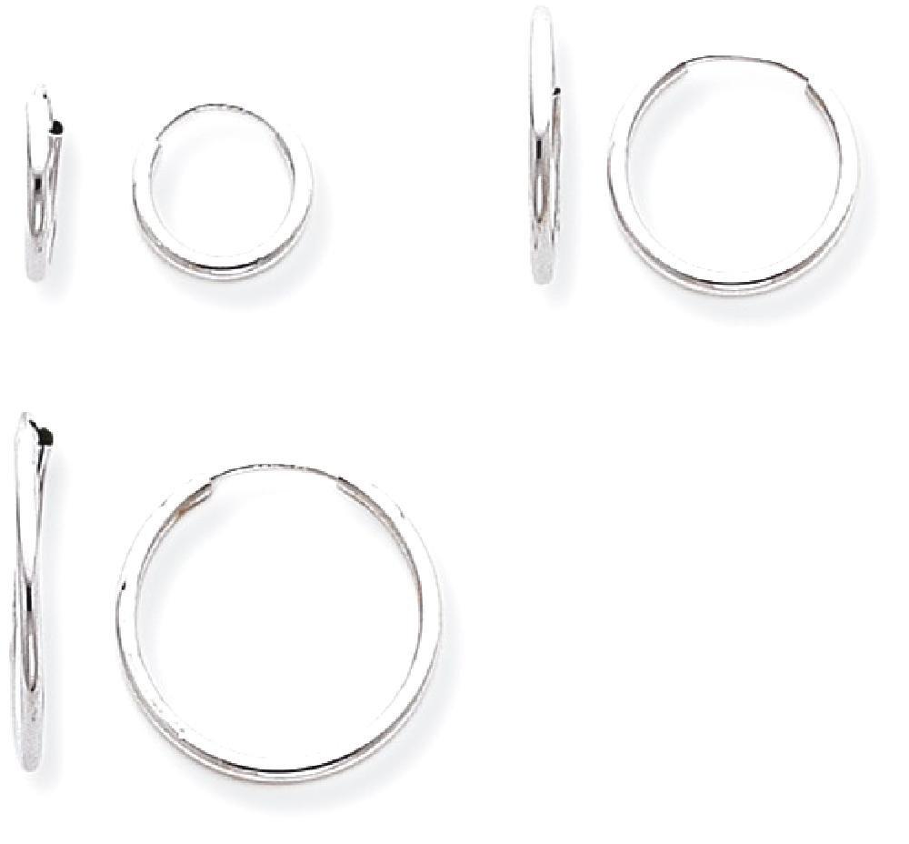 ICE CARATS 14k White Gold 3 Pair Set Endless Hoop Earrings Ear Hoops Fine Jewelry Gift Set For Women Heart