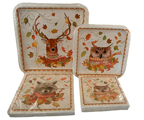 Autumn Leaves Paper Plates and Napkins Bundle - 4 Items: 2 Packs of Paper Plates and 2 Packs Of Napkins (Woodland Animals - Deer, Owl, (Autumn Paper Plates)