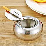 Itian Stainless Steel Ashtray Modern Tabletop Drum Shape Ashtray with Lid, Cigarette Ashtray for Indoor or Outdoor Use - Silver