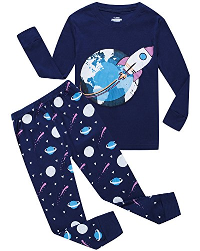Babyroom Boys Pajamas Space Little Kids Pjs 100  Cotton Toddler Kids Sleepwears Size 7T