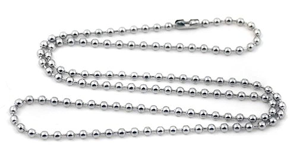 SANDRA Mens Jewelry 2.0 mm 16-40 Silver Stainless Steel Bead Necklace Chain