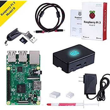 Raspberry Pi 3 Model B Kit with Black Case, Power Supply, Heatsink, 32GB SD Card, HDMI Cable