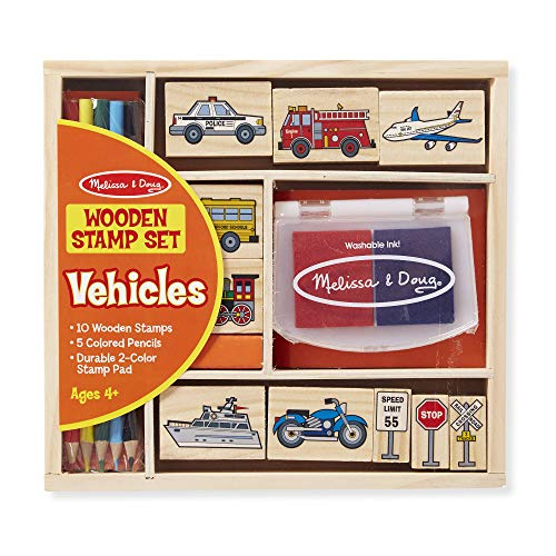 (Melissa & Doug Wooden Stamp Set: Vehicles - 10 Stamps, 5 Colored Pencils, 2-Color Stamp Pad)