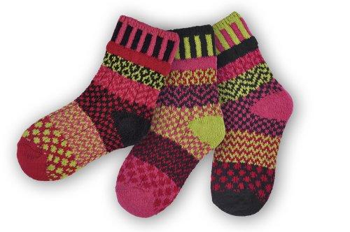 Solmate Socks, Mismatched Kids socks, A pair with a spare, Ladybug Large (Fashion Bug Plus Size)