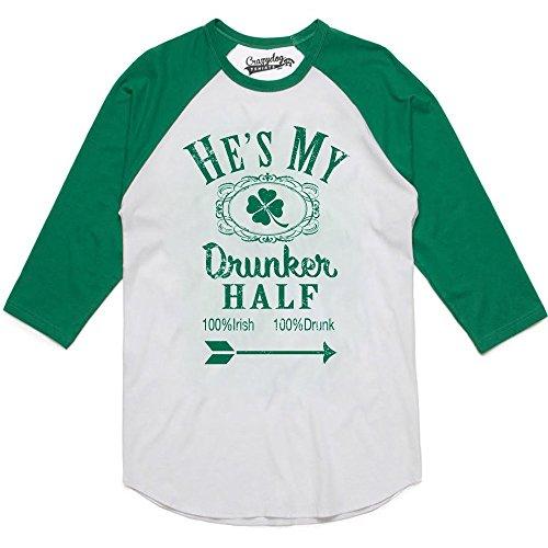 Womens Hes My Drunker Half Funny Couples Drinking Raglan Shirt