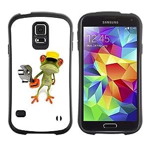 LASTONE PHONE CASE / Suave Silicona Caso Carcasa de Caucho Funda para Samsung Galaxy S5 SM-G900 / Construction Work Frog Wrench White