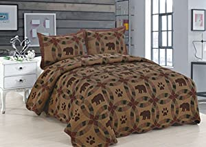 American Hometex Dark Black Bear King Quilt Set