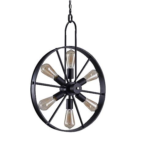 techo Round de Vintage Retro Black Wheel Lámpara Industry CxeWBdor