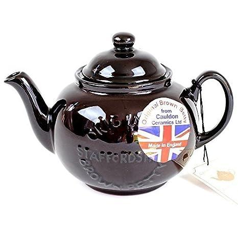 Handmade Original Brown Betty 4 Cup Teapot with 'Original Staffordshire' Logo (1-Pack)