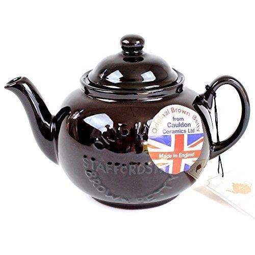"Handmade Original Brown Betty 6 Cup Teapot in Rockingham Brown with ""Original Staffordshire"" Logo"