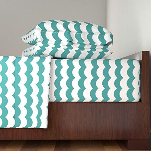 Roostery Teal Scallop Stripe 3pc Sheet Set Neutral Nursery Peacock Teal Nautical Kids Zigzag Chevron Scallop Baby by Willowlanetextiles 100% Cotton Sateen Twin Sheet Set