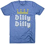 Superluxe Clothing Mens/Unisex Dilly Dilly Funny Beer Commercial Poly Cotton Game Day Football T-Shirt, Heather Lake Blue, Large