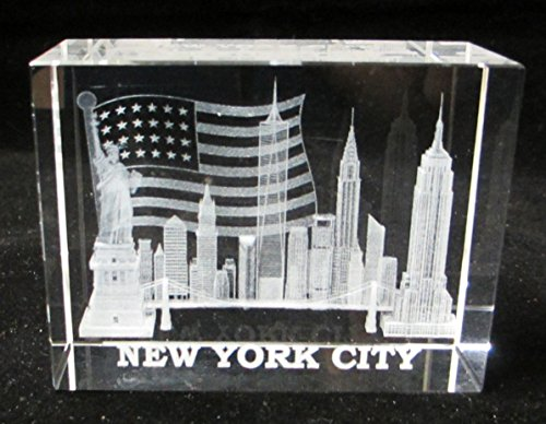 - New York Souvenir NYC Skyline 3D Clear Crystal Laser Etched Glass Paperweight with Statue of Liberty Empire State Building Freedom Tower USA Flag Large Size