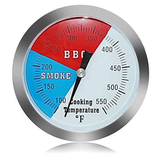 Charcoal Stainless Steel Oven (BBQ Thermometer Gauge Stainless Steel Charcoal Grill Pit Wood Smoker Temp Gauge Thermometer, 2-piece)