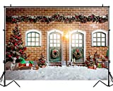 HUAYI Christmas Backdrops for Photography Photo Backdrop Christmas Village Houses Outside Xmas Backgroung for Family Pictures 10x8ft Xt-7304