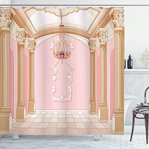 Ambesonne Princess Shower Curtain, Interior of The Ballroom Magic Castle Chandelier Ceiling Columns Kingdom Print, Cloth Fabric Bathroom Decor Set with Hooks, 70