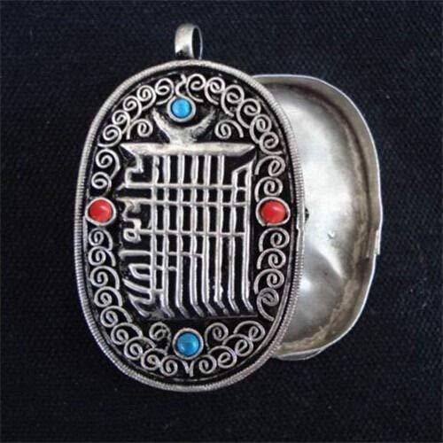 (Tibetan 4 Turquoise Red Coral Filigree Kalachakra Ghau Prayer Box Pendant)