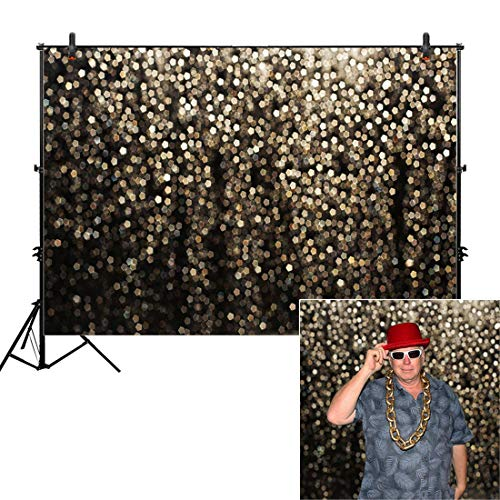 Allenjoy 10x8ft Gold Bokeh Spots Backdrop(Not Glitter) for Selfie Birthday Party Pictures Photo Booth Shoot Graduation Prom Dance Decor Wedding Astract Shining Dot Studio Props Photography Background -