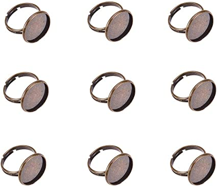 Pandahall 10 Pcs Adjustable Antique Bronze Tone Brass Finger Ring Bases...
