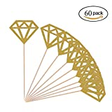 Diamond Cupcake Toppers 60 Pack Gold Glitter Diamond Cupcake Picks Bridal Shower Cupcake Toppers