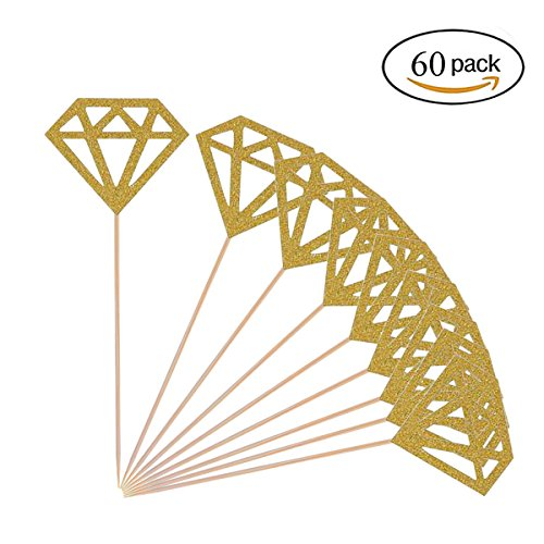 Diamond Cupcake Toppers 60 Pack Gold Glitter Diamond Cupcake Picks Bridal Shower Cupcake (Bridal Shower Cupcake Cake)