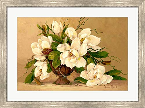 Southern Magnolias by Barbara Mock Framed Art Print Wall Picture, Silver Scoop Frame, 35 x 26 inches