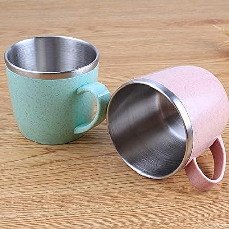 Vasos de acero inoxidable para niños y adultos, vasos de agua reutilizables para niños y adultos, elementos de trigo multicolor, 220 ml (rosa)