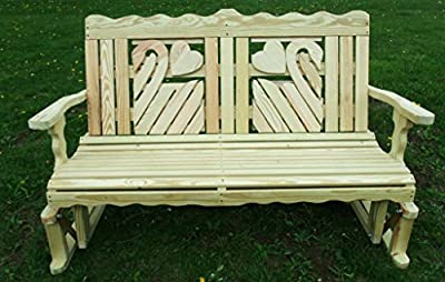 4 Ft Pressure Treated Pine Designs Unfinished Swan Cutout Outdoor Glider Bench