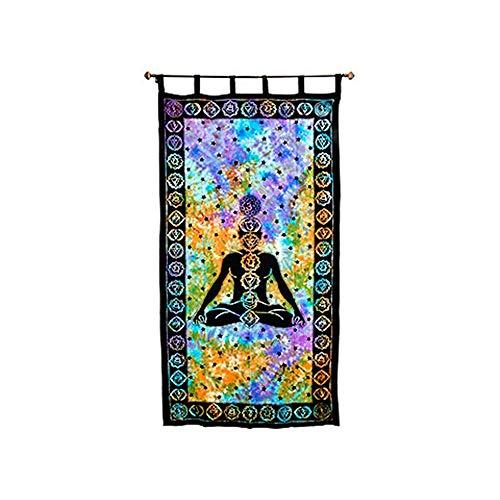 4Rissa Seven Chakra Yoga Reiki Tie Dye Hippie Studio Door Window Curtain]()
