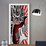 Gzhihine custom made 3d door stickers Music Decor Hand in Heavy Metal Rocker Sign Musical Universal Gesturing Lightning Bolts Party People Decor Decor Multi For Room Decor 30x79