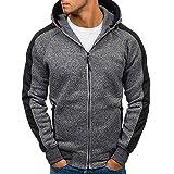 Hometom Mens Slim Fit Long Sleeve Lightweight Zip-up Pullover Hoodie Sweatshirt with Zipper Pocket (Dark Gray, XL)