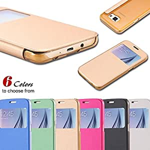 Wholesale DHL For S6 Window Flip Case for Samsung Galaxy S6 G920 Luxury Leather Smart Answer Cloth Clear Back Cover 100pcs/lot --- Color:White
