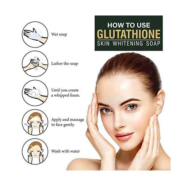 LA Organo Glutathione Skin Whitening Soap For Brightening & Whitening For All Skin Types, 100 g (Pack of 4) 2021 July Glutathione as a high antioxidant that can maintain healthy skin cells also has the benefit of making skin look brighter. Glutathione is a very popular active ingredient widely use for skin lightening and softening purposes. Gluta soap works effectively to remove dirt from your face & body. It peels off your dead skin so the new skin will appear and your body and face will look clean.