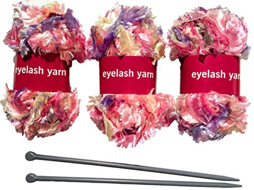 Knitting Set For Making Eyelash Yarn Scarf | (3) Yarn Balls (131ft) | Guaranteed | (2) Knitting Needles | Scarf Knitting Kit | Great Gift Idea