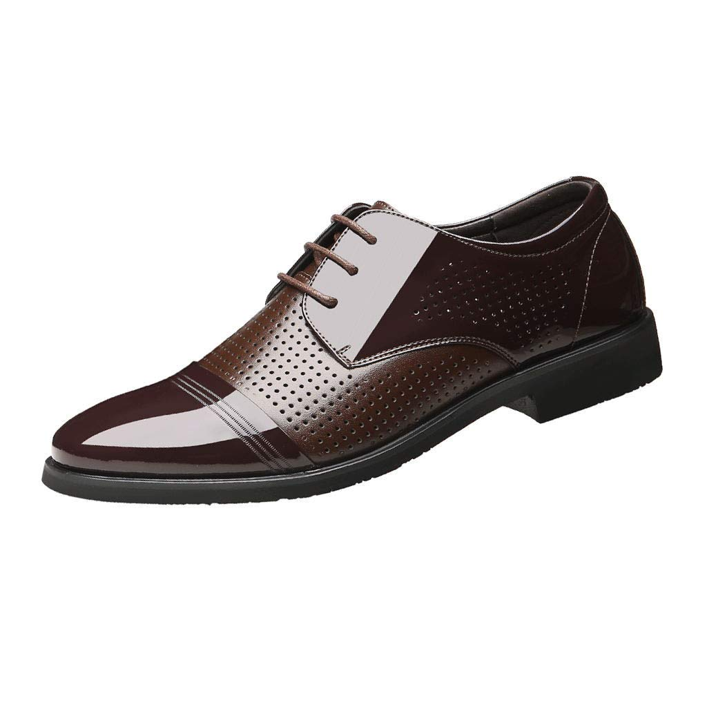 Corriee 2019 Most Wished Mens Dress Shoes Business Leather Work Shoes Flats Lace Up Breathable Footwear Brown