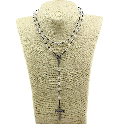 Uniquew AB Transparant Crystal Beads Rosary Catholic Necklace Church Holy Soil Medal & Cross ()